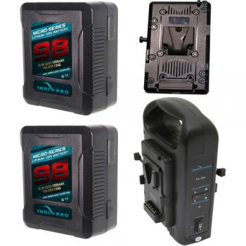 IndiPRO Tools 2 x Micro-Series V-Mount 98Wh Battery Kit for BMD URSA