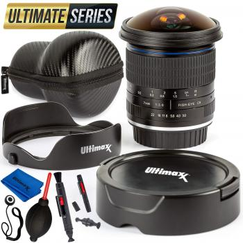 Ultimaxx 7mm f/3 HD Aspherical Fisheye Lens & Removable Hood Kit for C