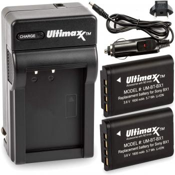 Ultimaxx AC/DC Rapid Home & Travel Charger with 2 BX1 Extended Life Ba