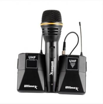 Ultimaxx Wireless Microphone Kit w/ Lavalier Mic Cables Carry Case Han
