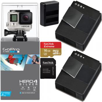 GoPro HERO4 Silver Essential Bundle - Two Batteries, Dual Battery Charger, 16GB MicroSD Card
