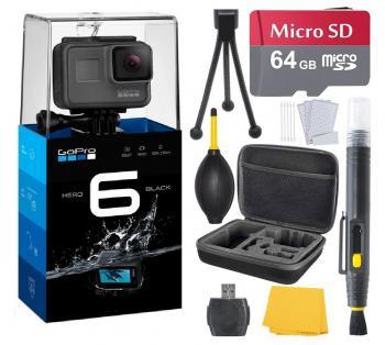 GoPro HERO6 Black (7 items) + 64 GB Micro SD + Case + Accessory Bundle