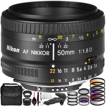Nikon AF NIKKOR 50mm f/1.8D Lens with Accessory Bundle