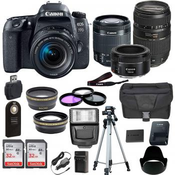 Canon EOS Rebel T7i/800D DSLR Camera with 18-55mm Lens, 50mm f/1.8 STM Lens, Tamron 70-300mm f/4-5.6 Autofocus Lens, and Accessory Bundle