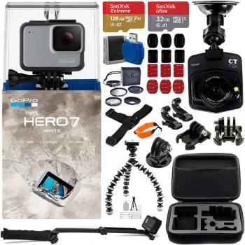 Gopro Hero7 White - CHDHB-601 with CT Tek Dash Cam - CTTKCDC300 and Accessory Bundle