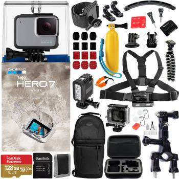 Gopro Hero7 White - CHDHB-601 with Pro Action Accessory Bundle