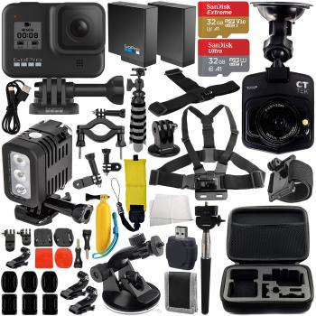 GoPro HERO8 Action Camera (Black) with Free Promotional Dash Cam & Deluxe Accessory Bundle