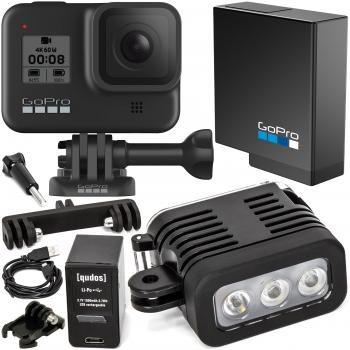 GoPro HERO8 Action Camera (Black) with Rechargeable Underwater LED Light Bundle