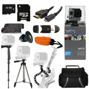 GoPro HERO3+ Silver Edition Camera + Accessory Bundle