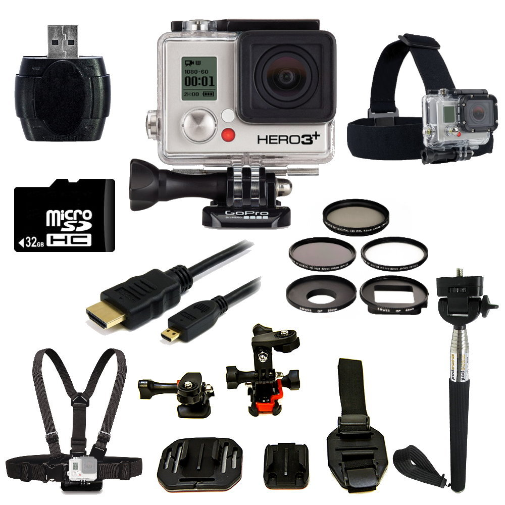 GoPro HERO3+ Black Edition Camera + Helmet Kit Bundle