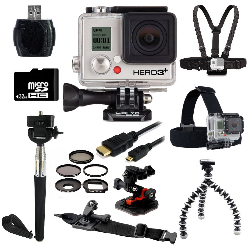 GoPro HERO3+ Black Edition Camera + Outdoor Kit Bundle