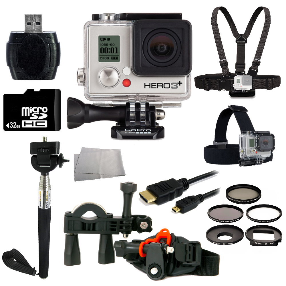 GoPro HERO3+ Silver Edition Camera + Bike Kit Bundle