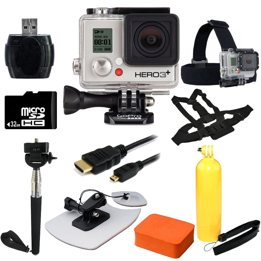 GoPro HERO3+ Silver Edition Camera + Surf Kit Bundle