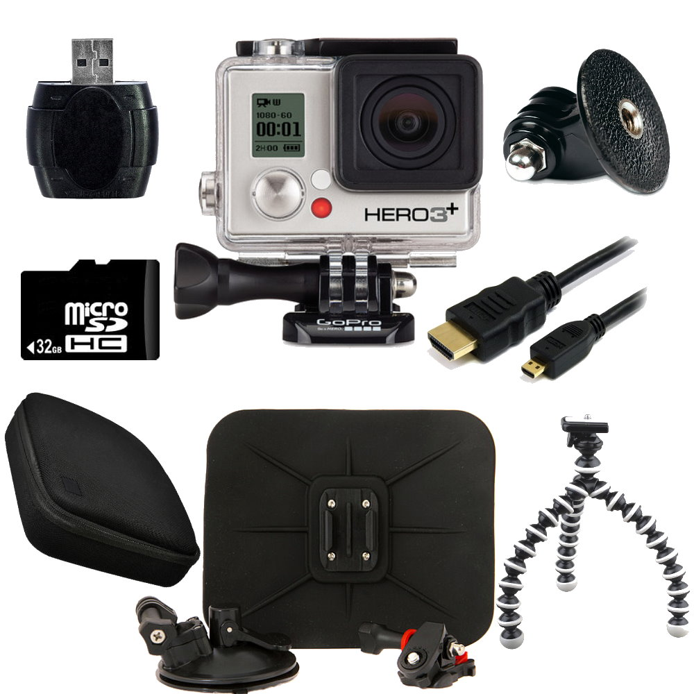 GoPro HERO3+ Silver Edition Camera + Car Kit Bundle
