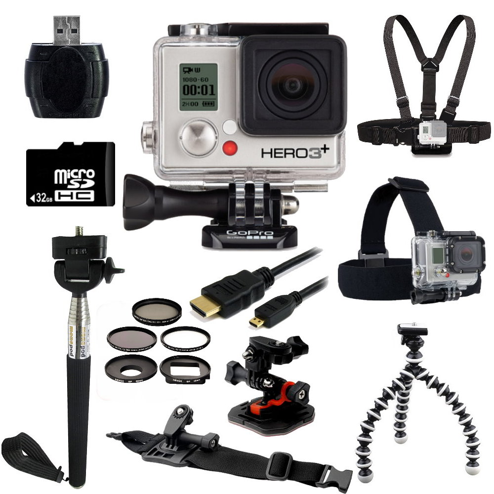 GoPro HERO3+ Silver Edition Camera + Outdoor Kit Bundle