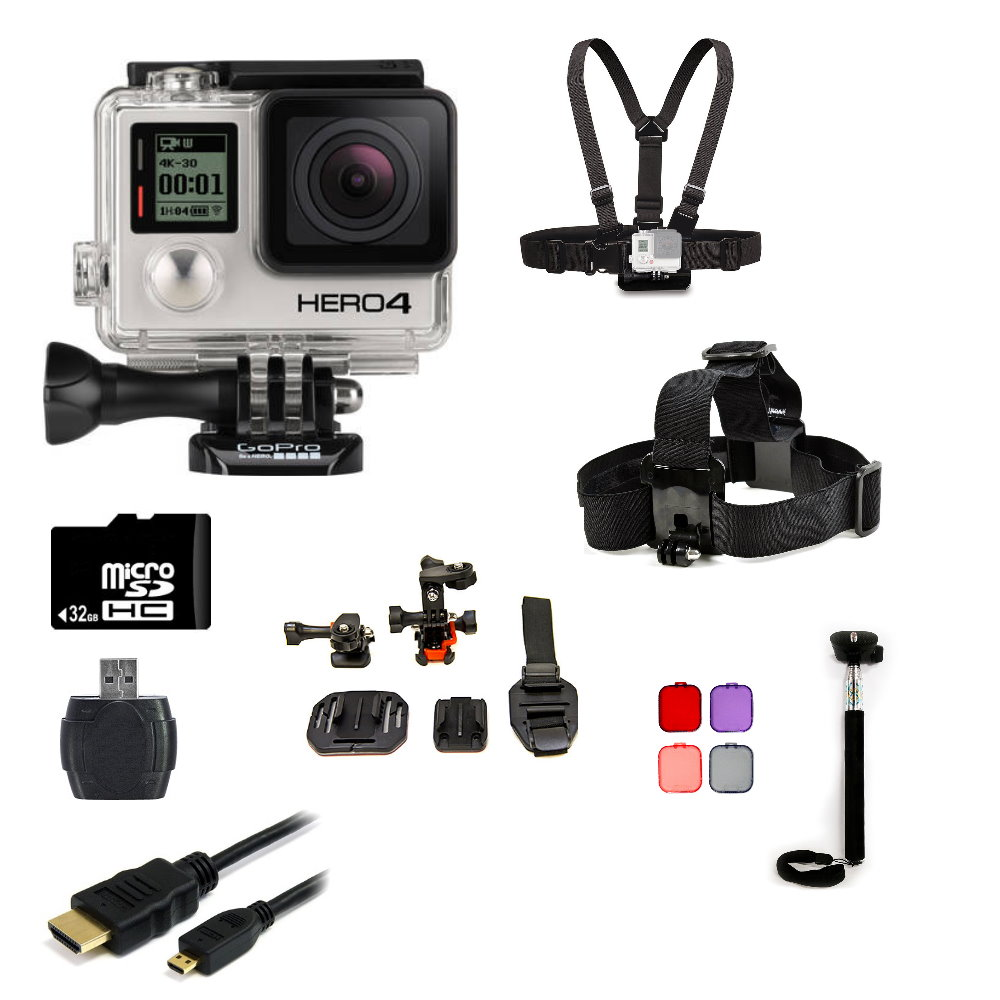 GoPro Hero4 Black Edition Camera + Helmet Kit Bundle