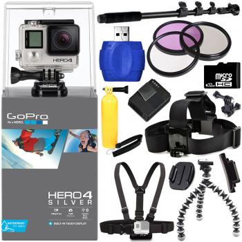 GoPro Hero4 Silver Edition Camera + Helmet Kit Bundle