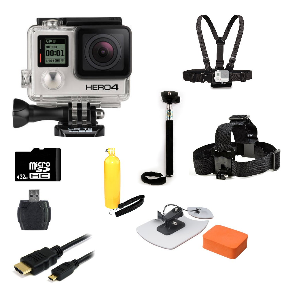 gopro hero4 silver edition camera surf kit bundle
