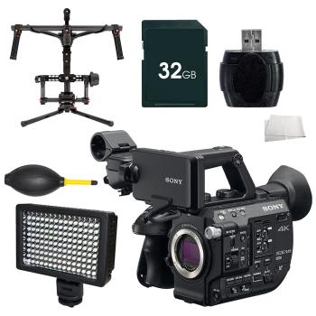 Sony PXW-FS5 XDCAM Super 35 Camera System + DJI Ronin 3-Axis Brushless Gimbal Stabilizer + 32GB Memory Card Accessory Kit Bundle