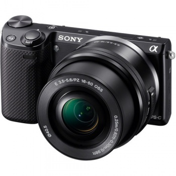 Sony Alpha NEX-5R Mirrorless Digital Camera with 16-50mm f/3.5-5.6 Retractable Zoom Lens (NEX5R)(Black)