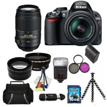 Nikon D3100 Digital SLR Camera with Camera Kit with 18 55mm & 55 300mm VR Lenses + Accessory Bundle