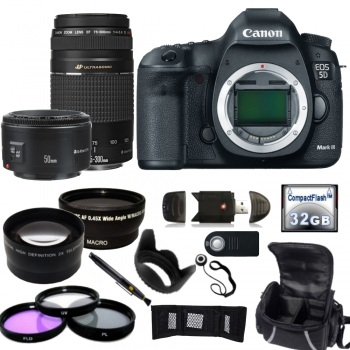 Canon EOS 5D Mark III DSLR Camera with Canon EF 75-300mm f/4.0 5.6 III & EF 50mm f/1.8 II Lenses + Accessory Bundle