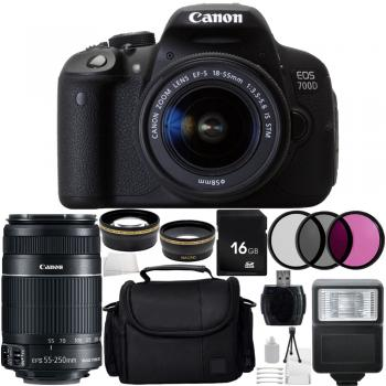 Canon EOS 700D/T5i DSLR Camera with 18-55mm IS STM & 55-250mm f/4 5.6 IS II Lenses Accessory Bundle