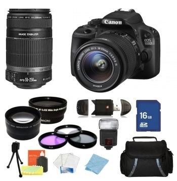 Canon EOS 100D/SL1 DSLR Camera with EF-S 18-55mm & EF-S 55-250mm Lenses + Accessory Bundle