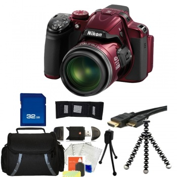 Nikon COOLPIX P520 Digital Camera (Red) + Accessory Bundle