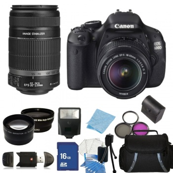 Canon EOS T3i / Kiss X5 / 600D DSLR Camera with EF-S 18-55mm IS II Lens & 55-250mm f/4-5.6 IS II Lens + Accessory Package Bundle