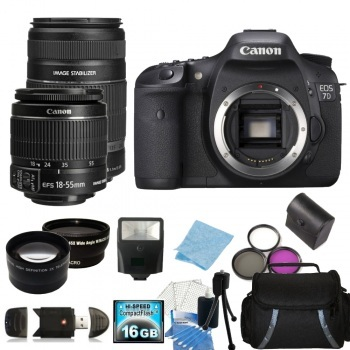 Canon EOS 7D SLR Digital Camera with 18-55mm f/3.5-5.6 IS II Lens & 55