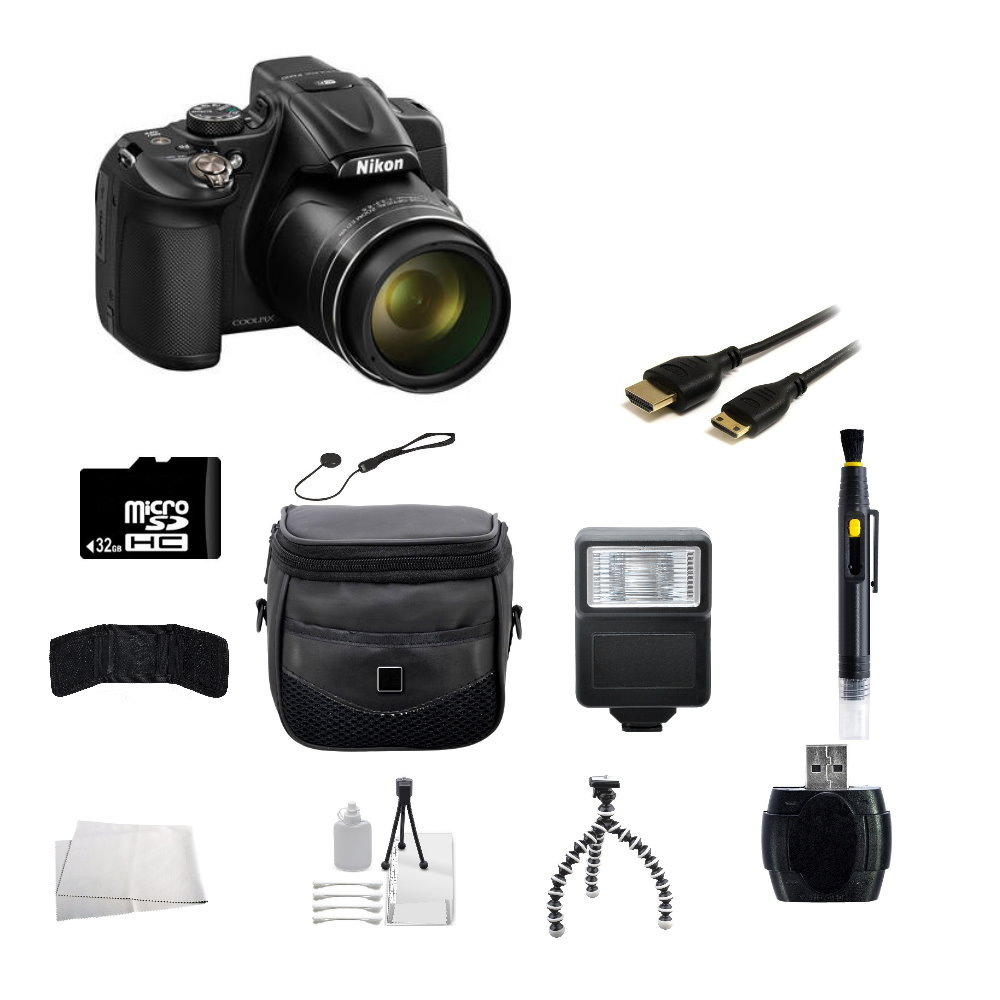 Nikon COOLPIX P600 Digital Camera (Black) + 32GB Accessory Bundle