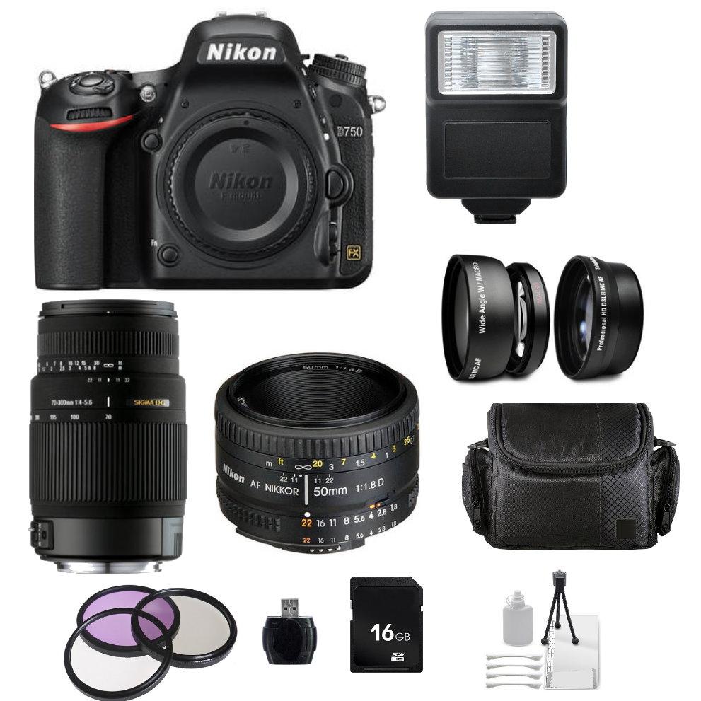 Nikon D750 DSLR Camera with AF Nikkor 50mm f/1.8D Autofocus Lens + Sigma 70-300 f/4 5.6 DG Autofocus Lens + Accessory Bundle