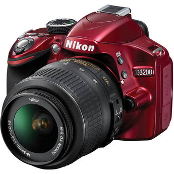Nikon D3200 with 18-55mm VR Lens - in Red