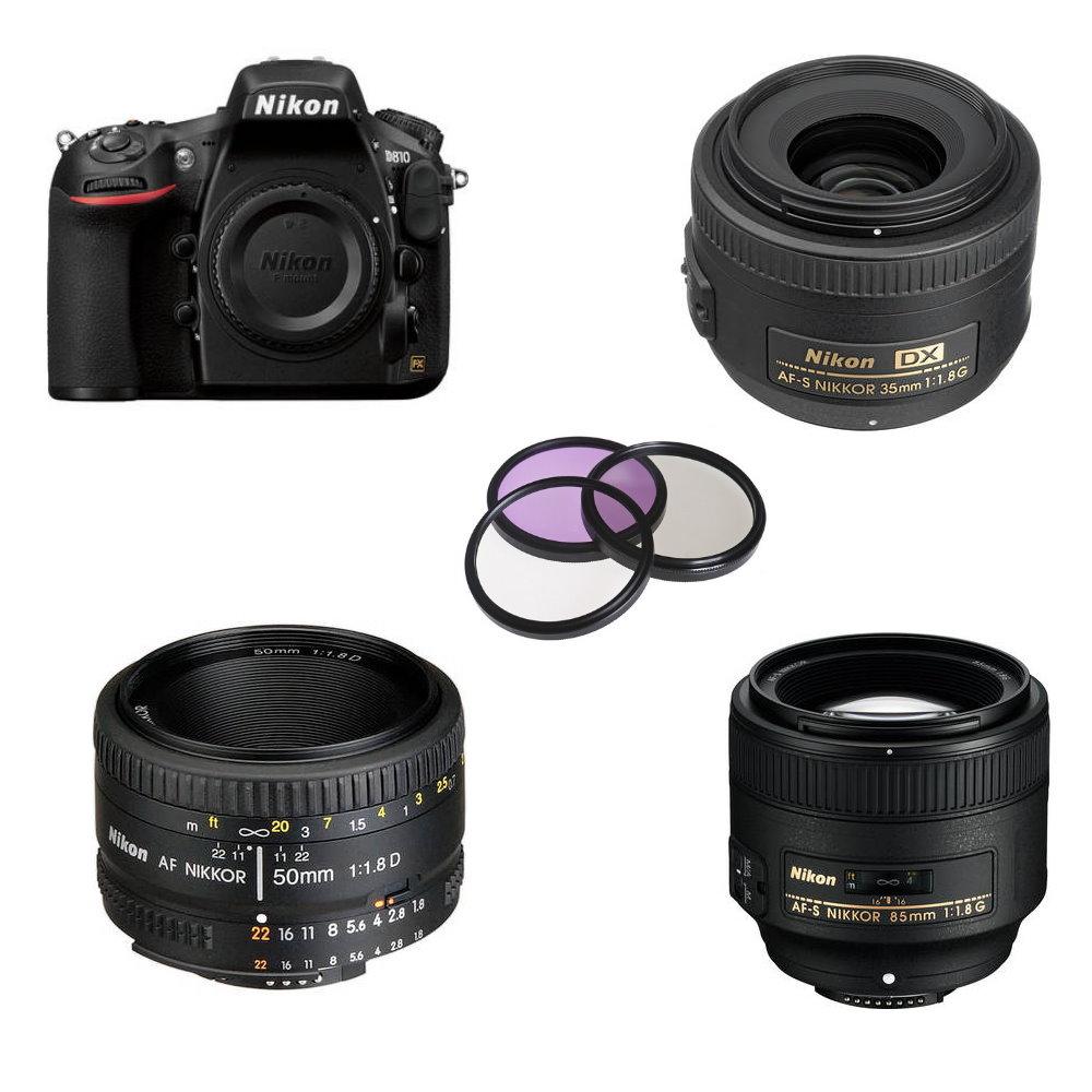Nikon D810 Lens Bundle 35 50 85mm F 18g Plus 3 Piece Filter Kit Af 50mm 18d Nikkor
