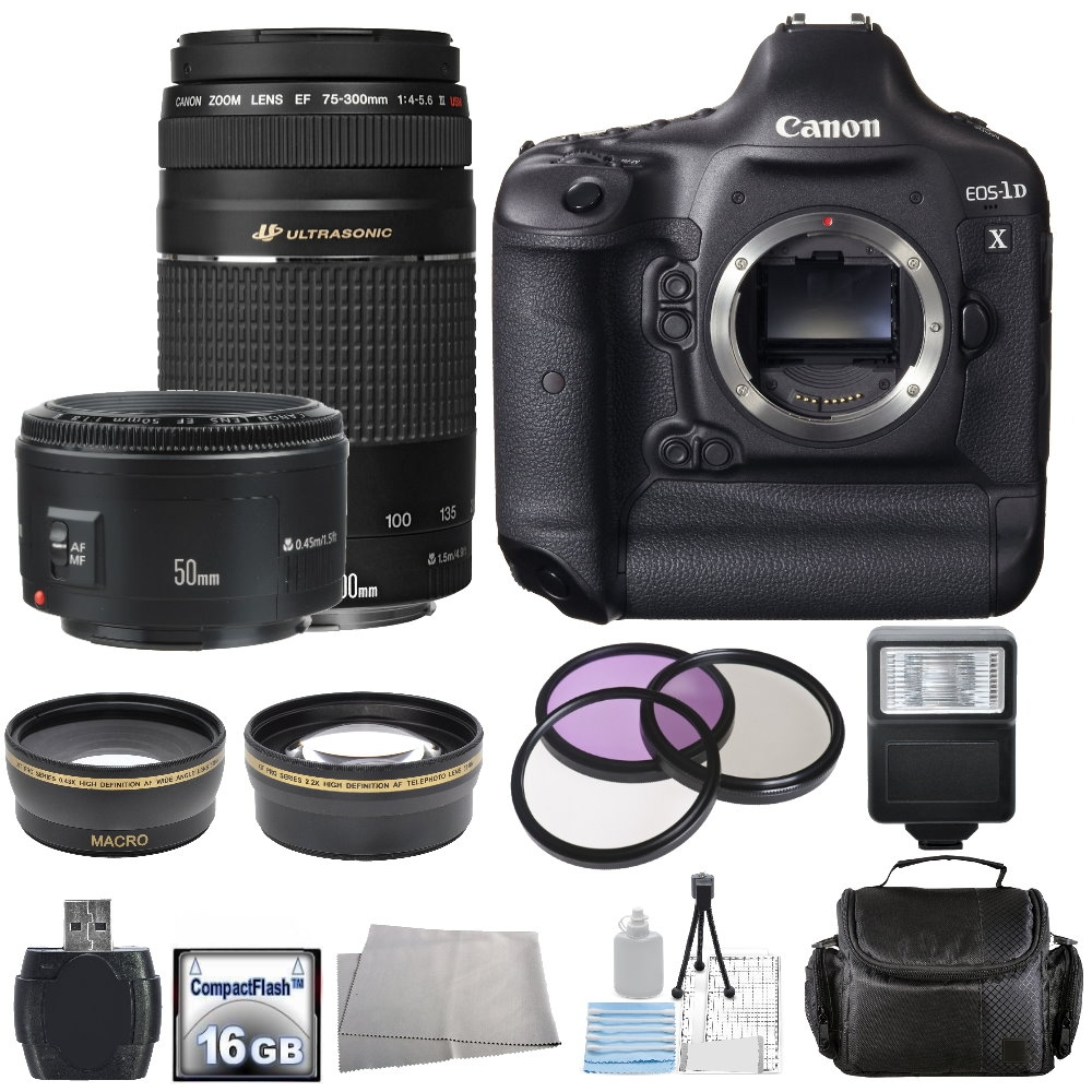 Canon EOS 1D X Digital SLR Camera with Canon EF 75-300mm f/4 5.6 III USM Lens + Canon EF 50mm f/1.8 II Lens (1dX Bundle)