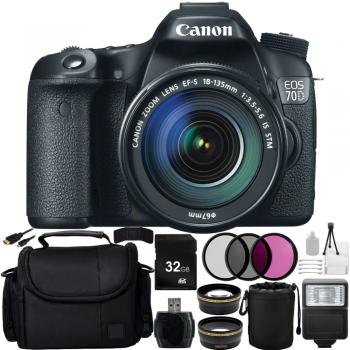 Canon EOS 70D DSLR with 18-55 STM Lens + All Black Bundle