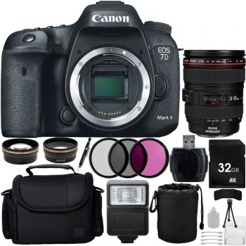 Canon EOS 7D Mark II DSLR with EF 24-105mm f/4L IS USM Autofocus Lens + Custom All Black Bundle