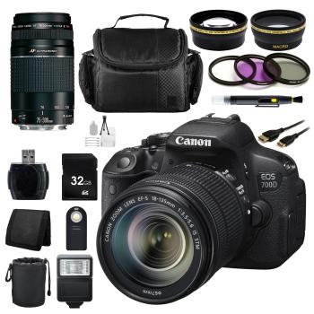 Canon EOS 700D/T5i DSLR w/18-135mm STM 75-300mm + Complete Accessory Bundle