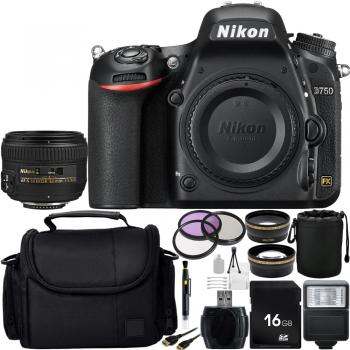 Nikon D750 DSLR Camera with Nikon AF S Nikkor 50mm f/1.4G Autofocus Lens + Custom Professional Bundle