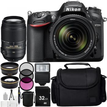 Nikon D7200 DSLR with 18-140mm VR DX Lens and 55-300 VR NIKKOR Zoom Lens + Custom Accessory Bundle