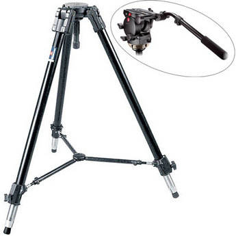 Manfrotto 536 Carbon Fiber Tripod with 509HD Video Head and Padded Car