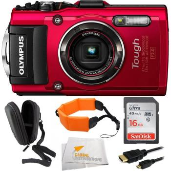 Olympus Stylus TOUGH TG-4 Digital Camera (Red) + Bundle