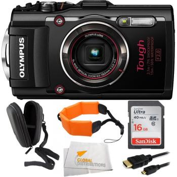 Olympus Stylus TOUGH TG-4 Digital Camera (Black) + Bundle
