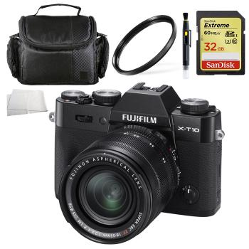 Fujifilm X-T10 Mirrorless Digital Camera with 18-55mm Lens (Black) + 32GB Memory Card Accessory Kit