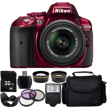 Nikon D5300 DSLR Camera with 18-55mm VR Lens (Red) + All you need Bundle