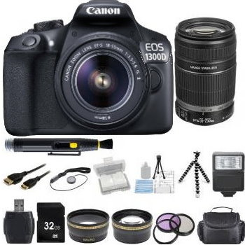 Canon EOS 1300D/T6 DSLR Camera and 18-55, EFS 55-250 Lens + Accessory Bundle