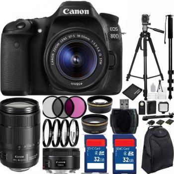 Canon EOS 80D DSLR Camera Triple Lens Bundle