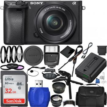 Sony Alpha a6300 4K Mirrorless Digital Camera with 16-50mm Lens + Advanced Shooters kit