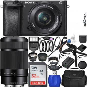 Sony Alpha a6300 4K Mirrorless Digital Camera with 16-50 + 55-210 Dual Lens Kit
